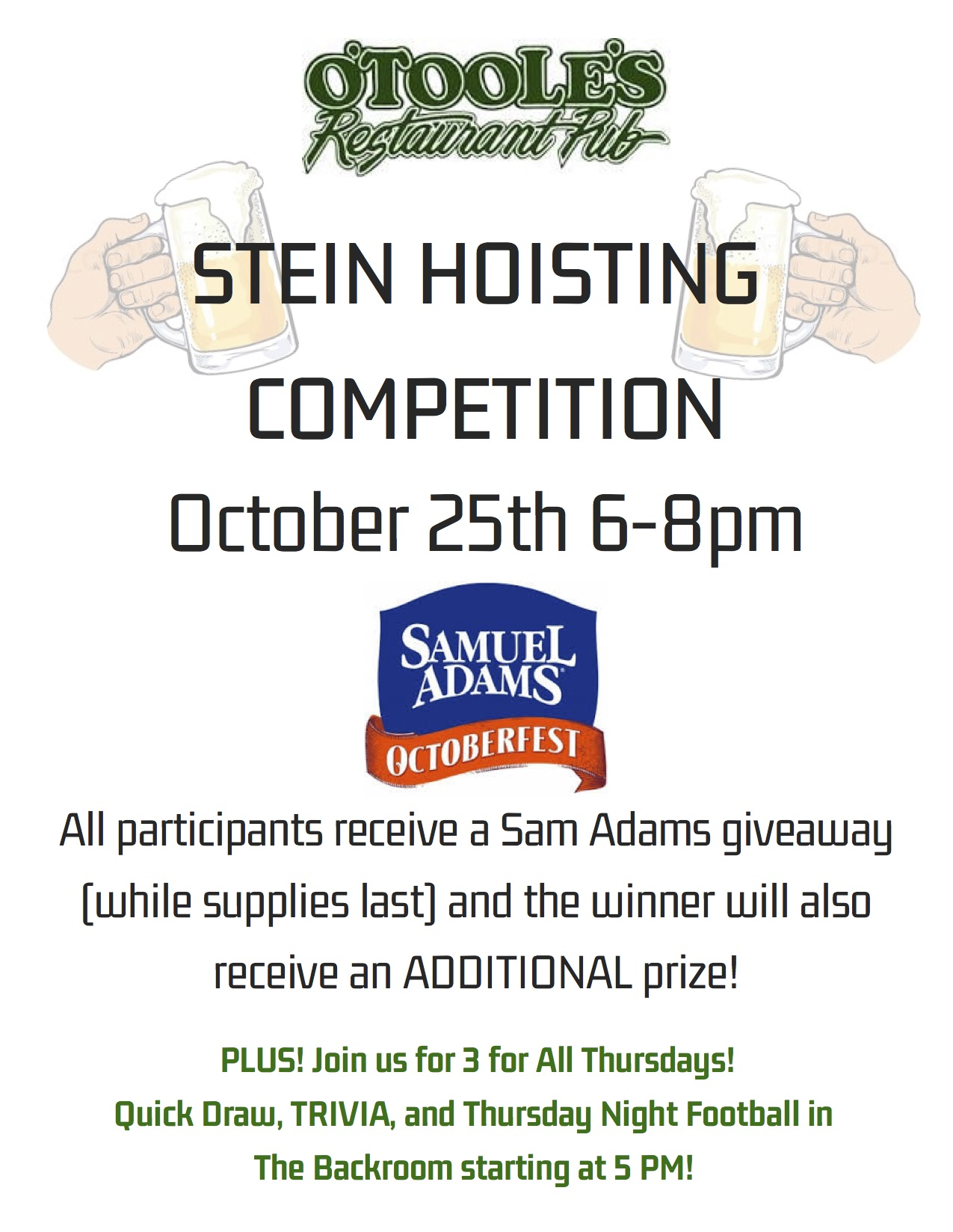 stein holding competition at o'toole's albany